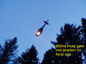 Huey prepares for hoist ops
